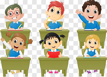 Six Children Illustration Student Classroom Lesson Cartoon School Children Free Png Student Cartoon Classroom Lessons Back To School Kids
