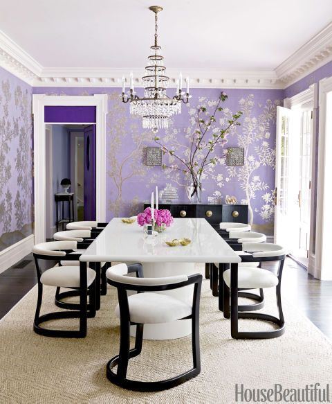 Tour a House Thatu0027s Eye Candy For The Purple-Obsessed Mauve, Deco - decoration salle a manger contemporaine