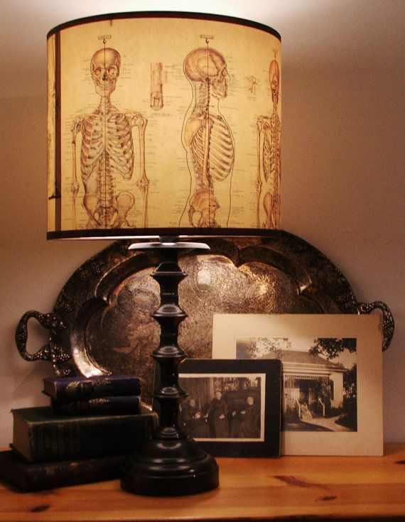 skeleton lampshade & spooky pictures