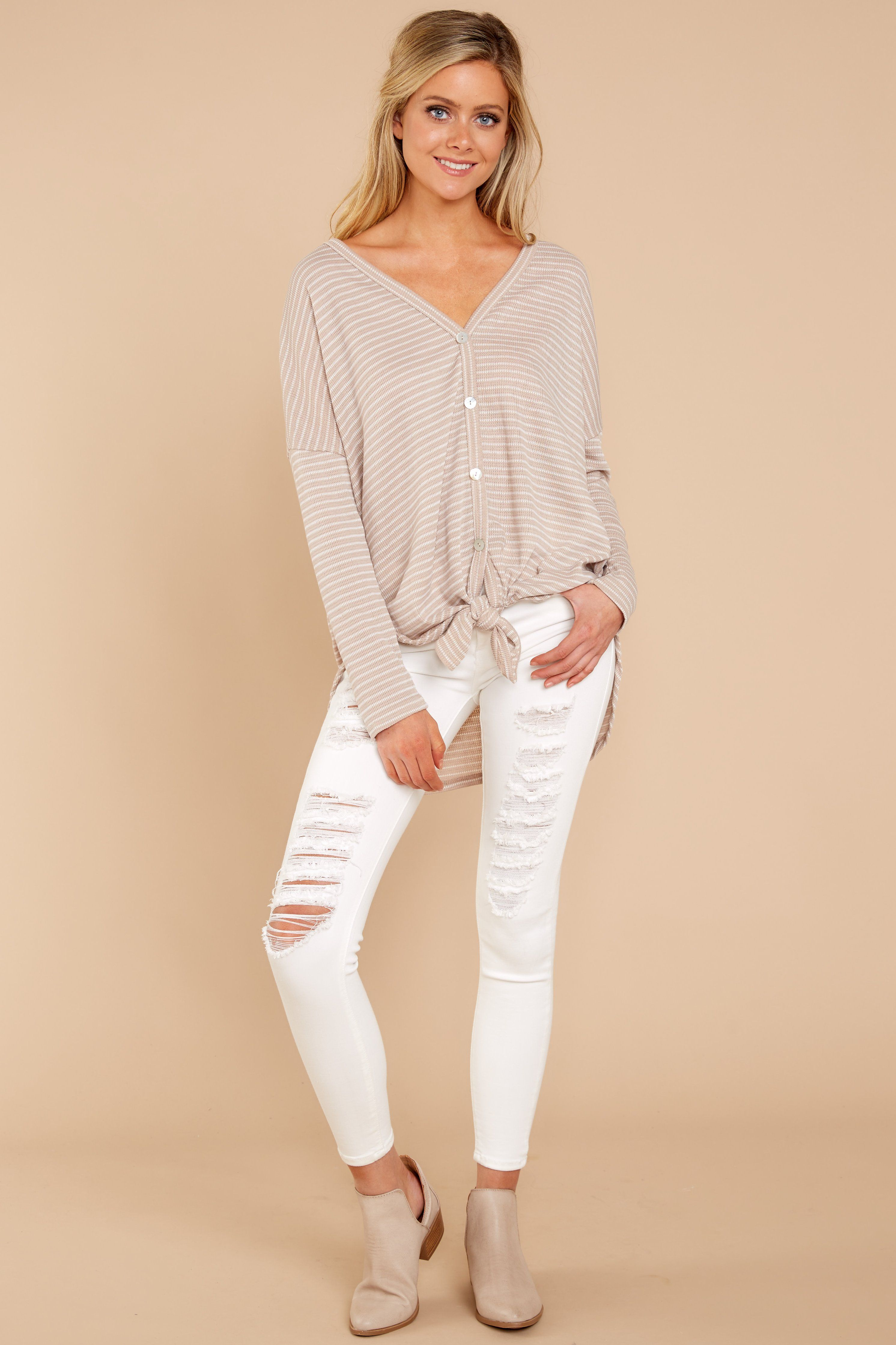 Better than the rest taupe striped long sleeve tie top style