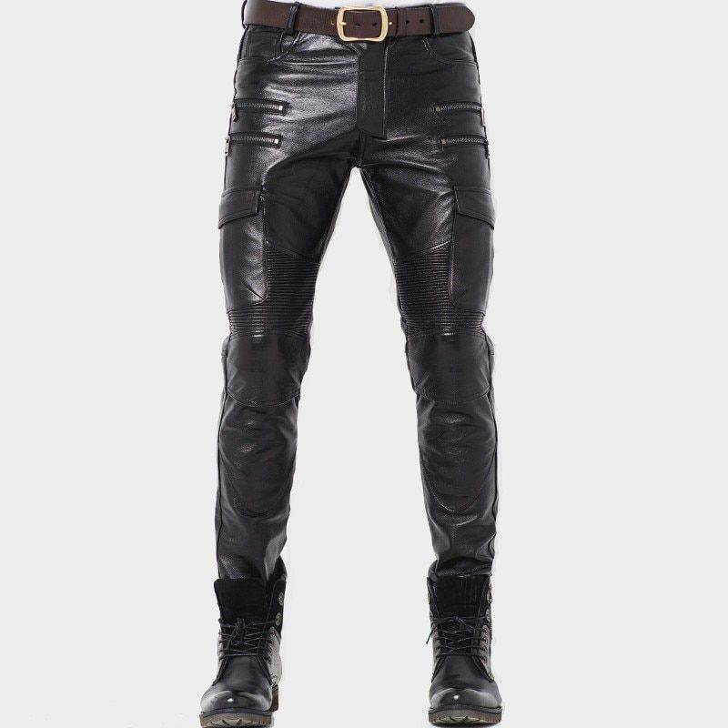 New Mens Punk Zipper Motorcycle PU Leather Skinny Slim Leg Jeans Pants Trousers