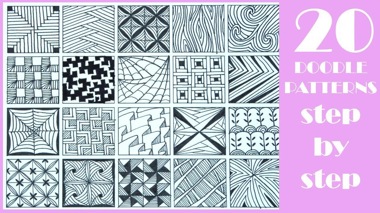 20 Easy Doodle Patterns Step By Step Zentangle Patterns Zentangle Patterns Doodle Patterns Easy Zentangle Patterns