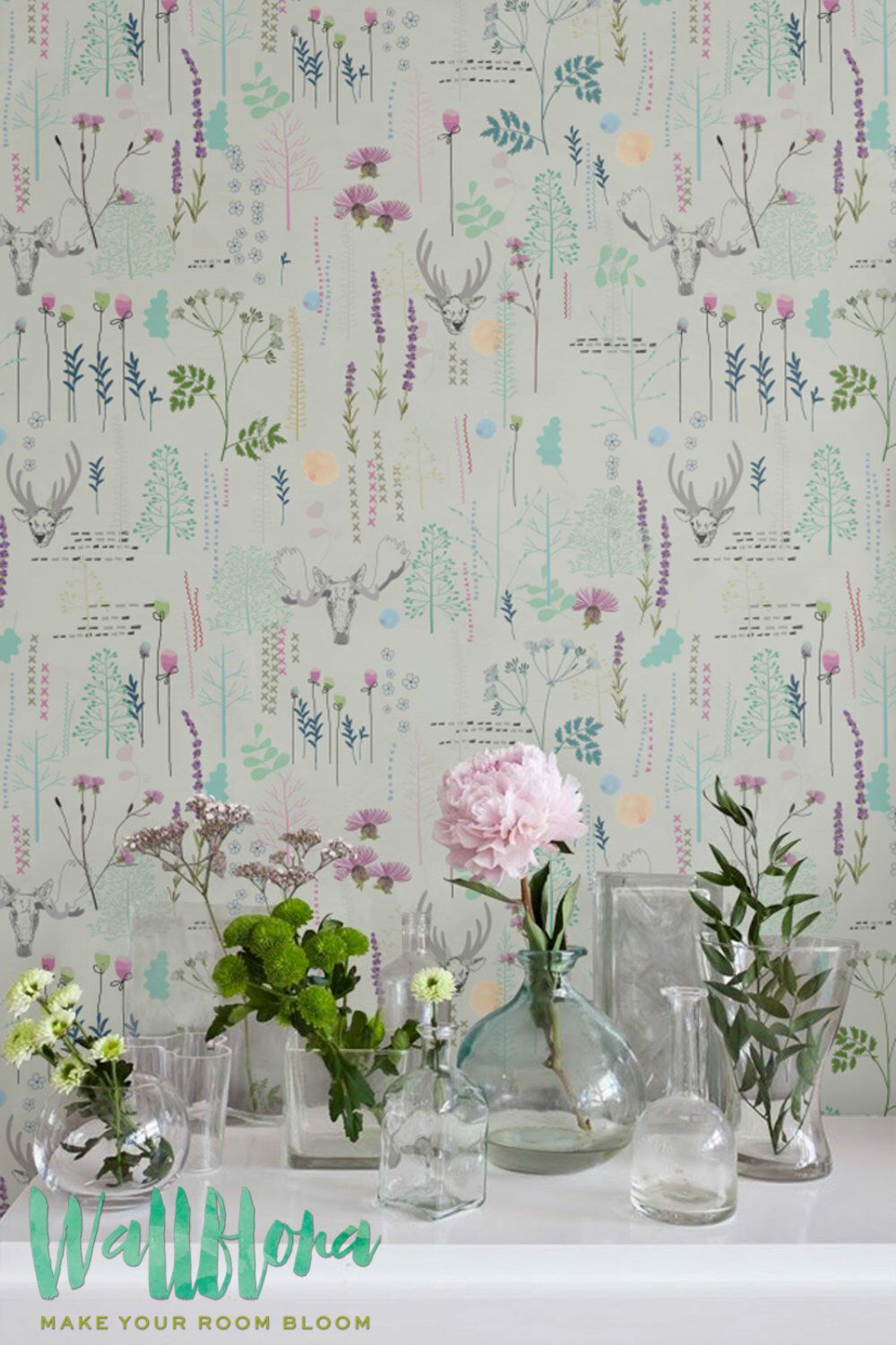 Seamless vintage pattern wallpaper removable wallpaper vintage wall decal deer wall sticker vintage self adhesive wallpaper 191