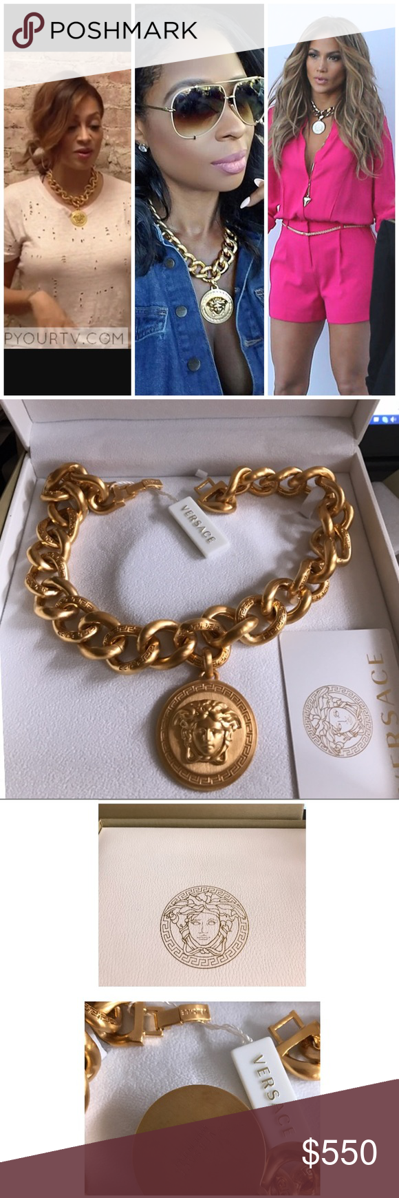 Versace medallion medusa gold chain necklace nwt versace jewelry