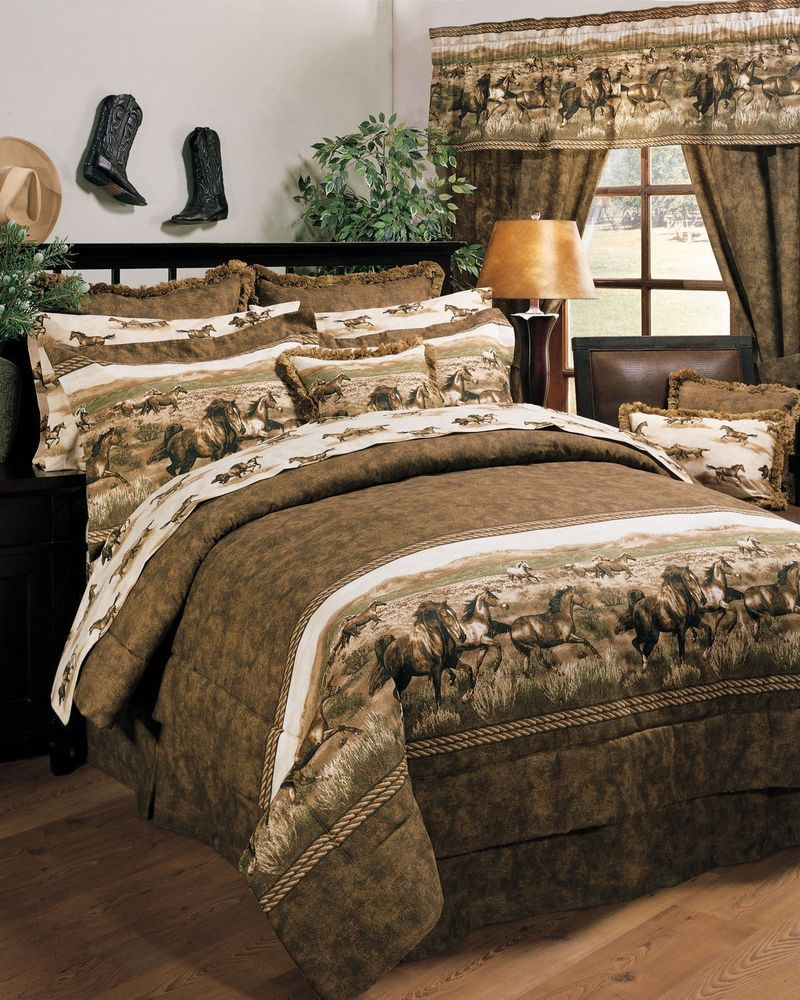 NEW Western Rustic Country Wild Horses Bedding Bedroom