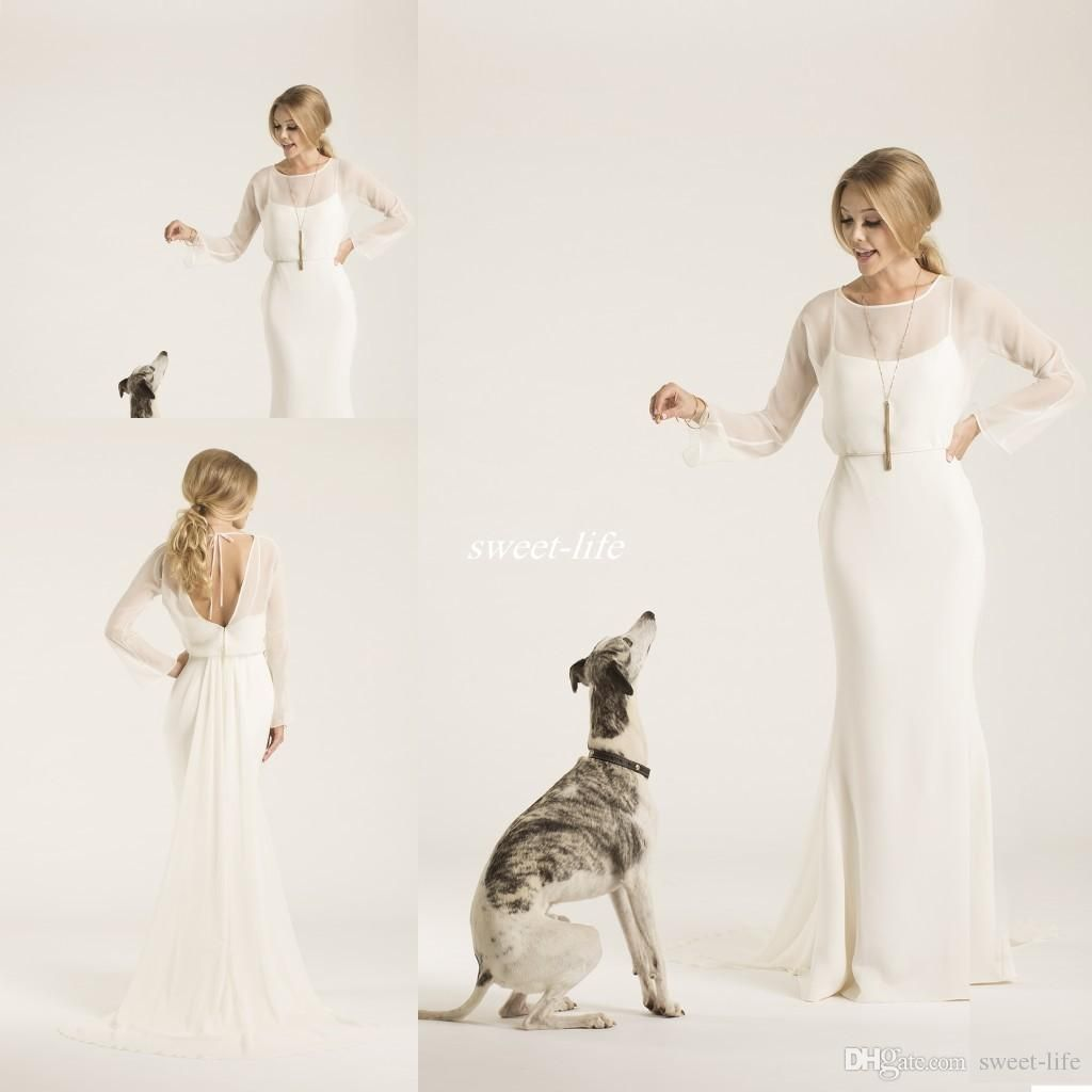 Sheath crew neck low back amy kuschel couture boho wedding dresses