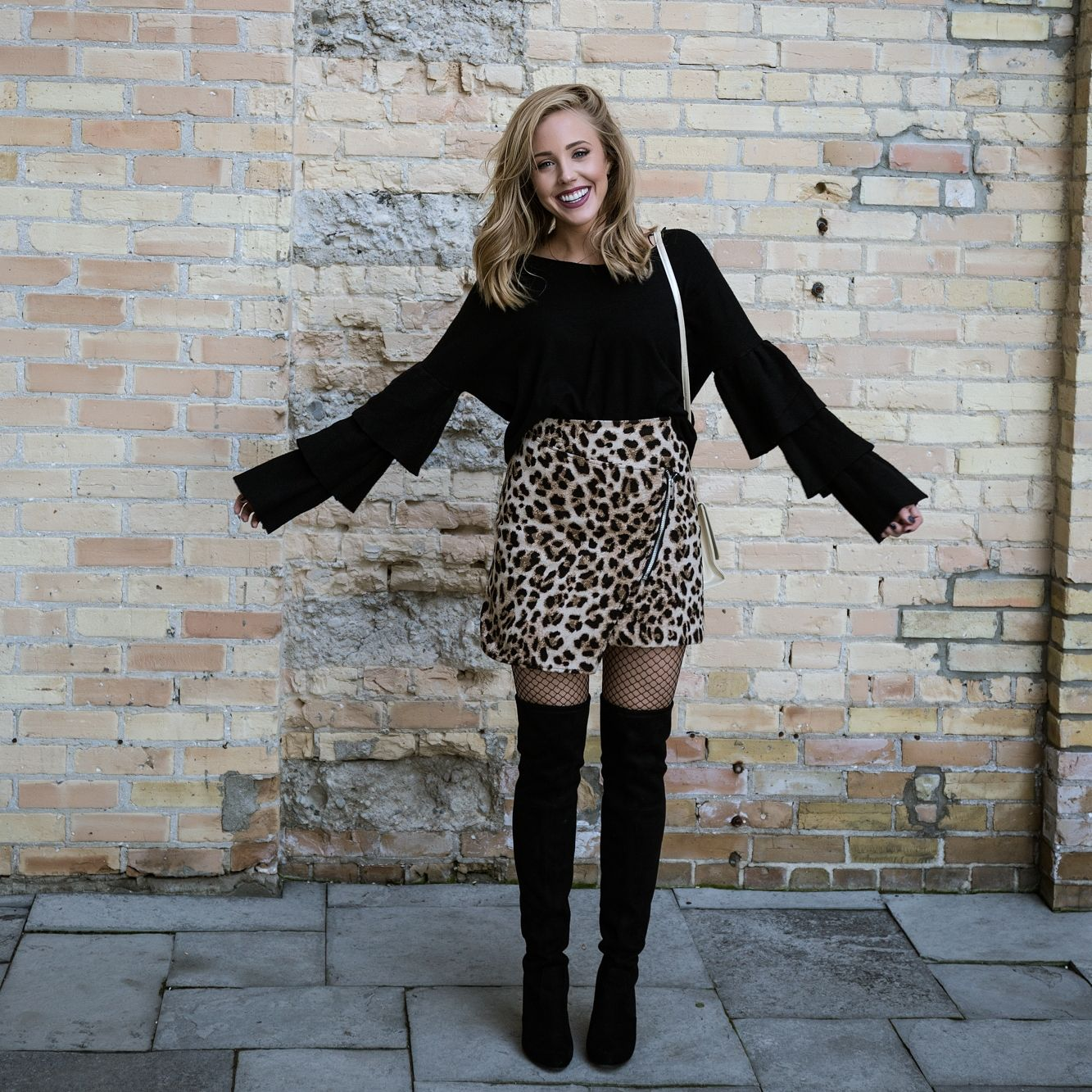 80deefc3a018 Black Ruffle Sweater, Leopard Skirt, Black Over-The-Knee boots, Fishnets  #bloggerstyle #style #lifestyle #fashion #leopard #bloggerlife  #personallypaige ...