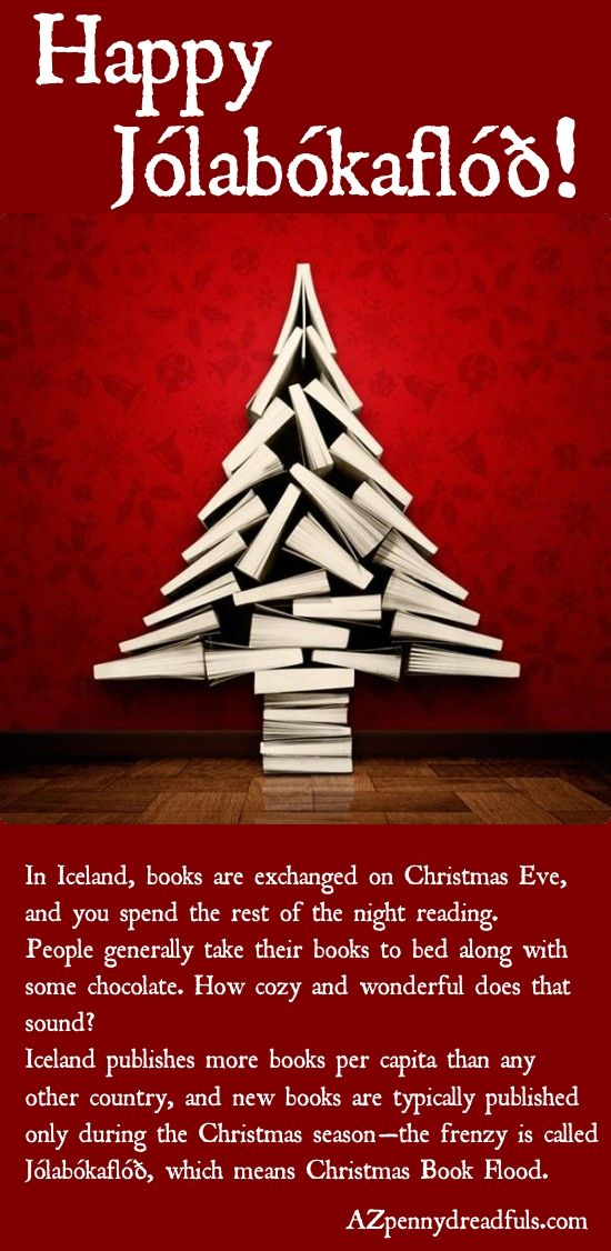 Jolabokaflod Which Means Christmas Book Flood Is A Holiday Tradition In Iceland On Christmas Eve Christmas Books Iceland Christmas Christmas Eve Traditions