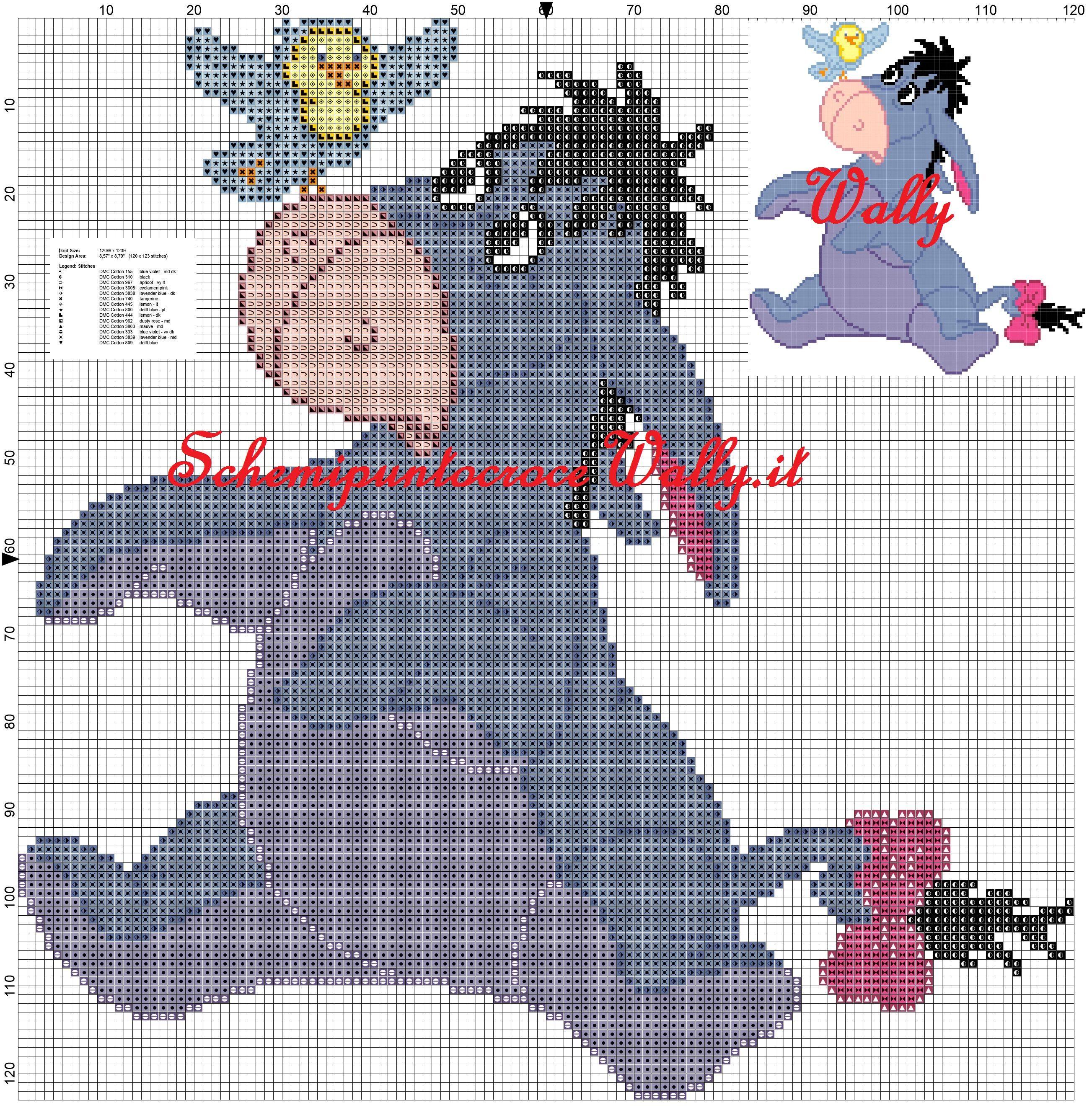Ih oh amico di winnie con passerotto the pooh schema punto for Winnie the pooh punto croce schemi