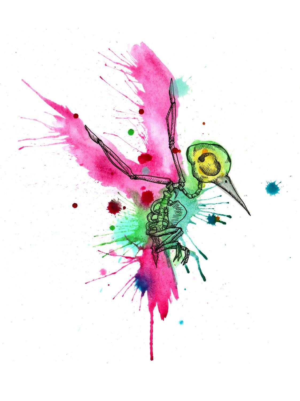 Colibri squelette aquarelle Fine Art Print par LVBart sur
