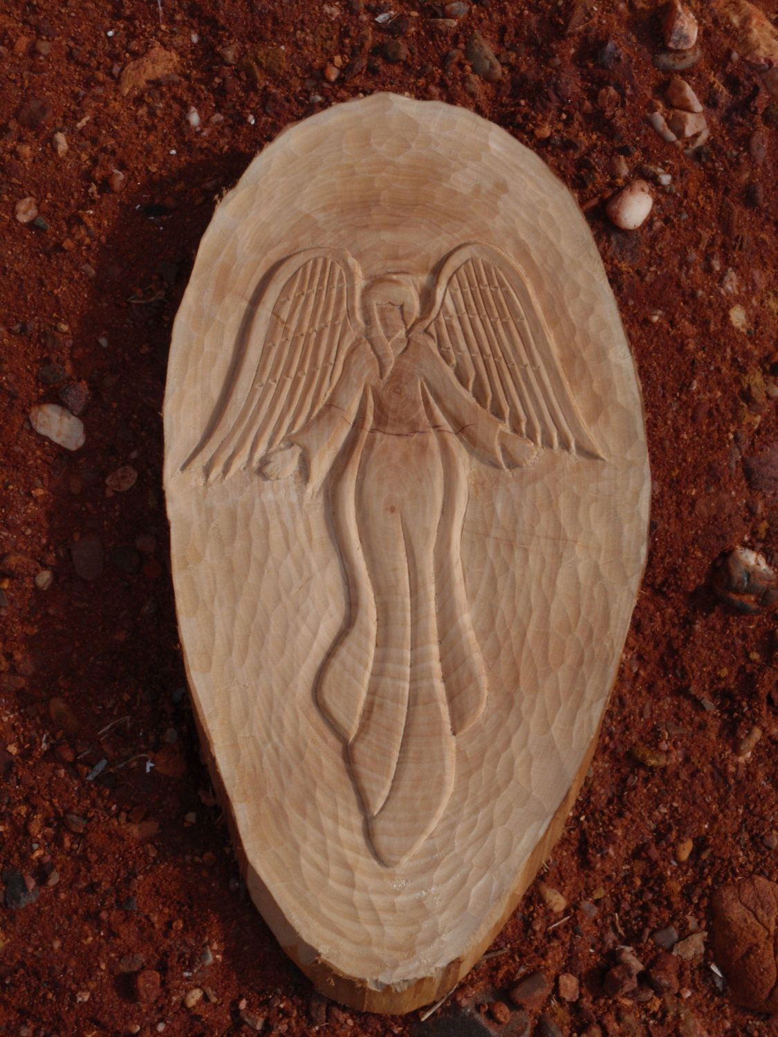 "The ""guardian angel wood carving hand made spiritual by"