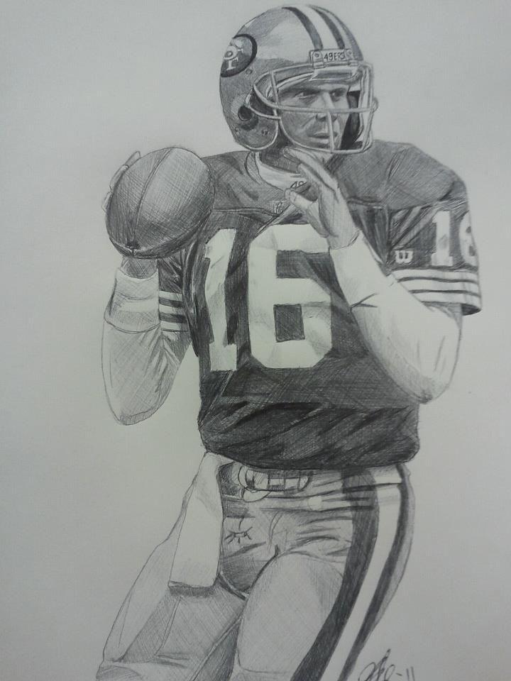 joe montana ink drawing  rugby art 49ers history sports art