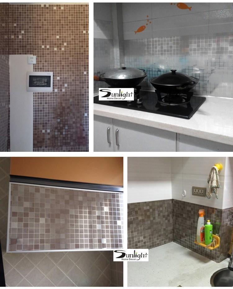 10meter Aluminum Foil Self Adhesive Mosaic Stickers Kitchen Anti Oil Wallpaper High Temperature Vinyl Waterproof Wall Sticker Wall Sticker Kitchen Pvc Wall