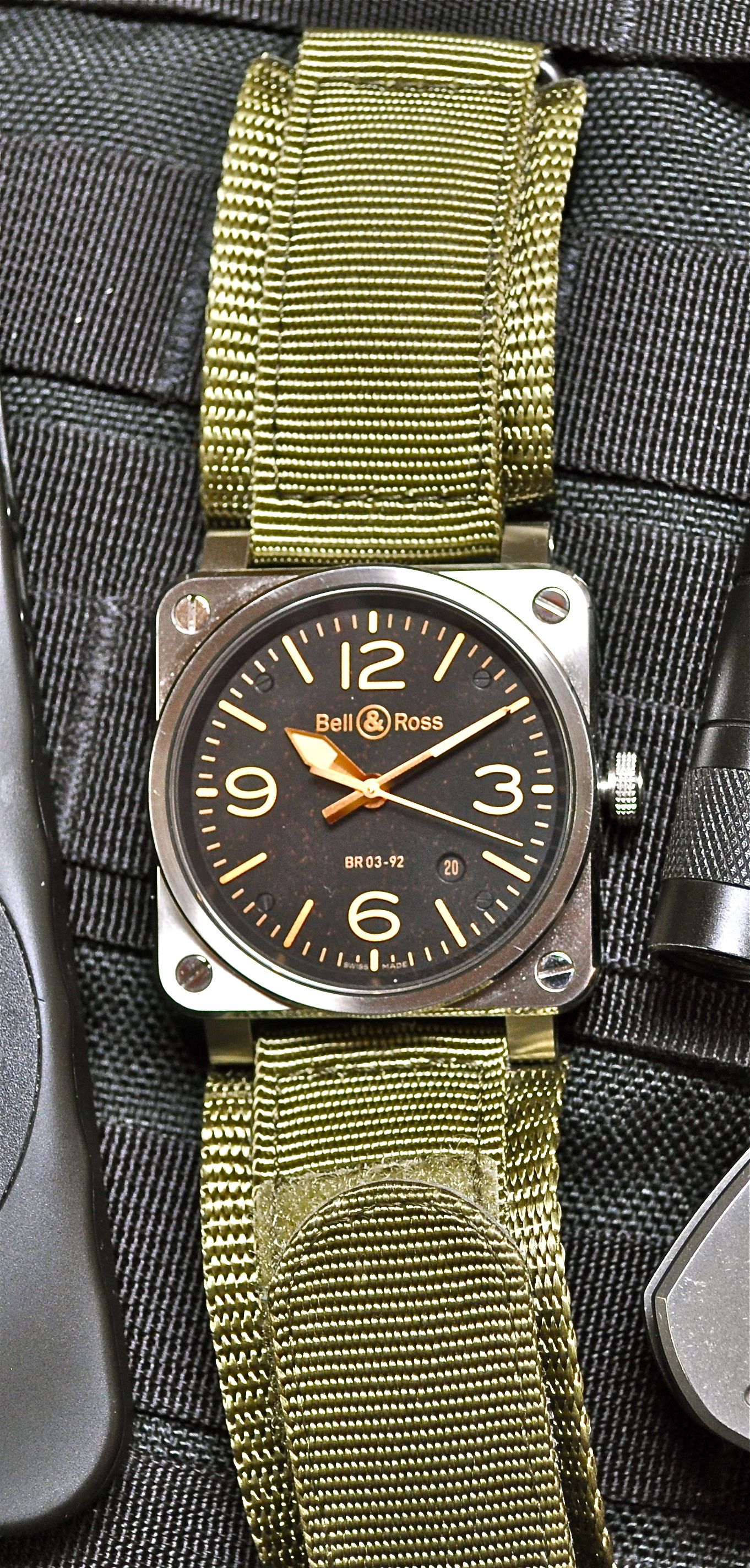 hot sale online 223d1 7cb39 Bell & Ross BR03-92 Golden Heritage with B&R Olive Synthetic ...