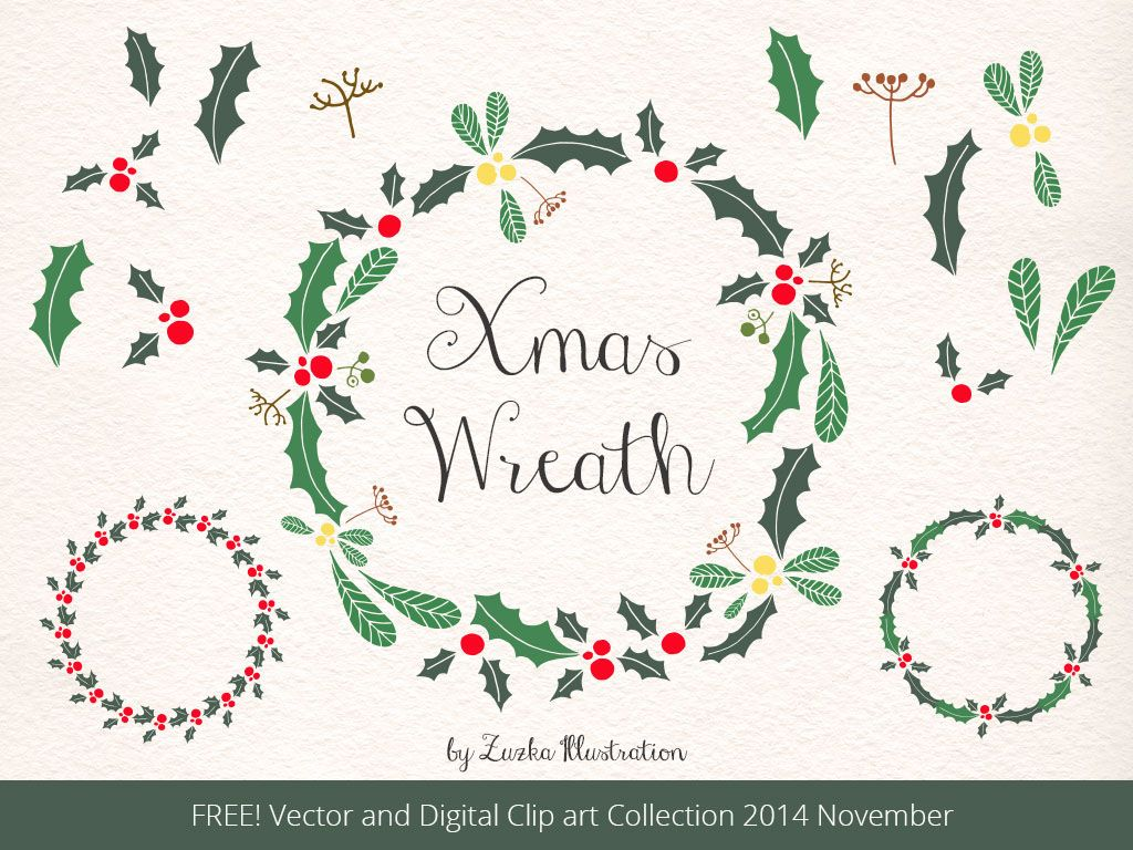 FREE Christmas Wreath, Holly Vector and Xmas Clipart on