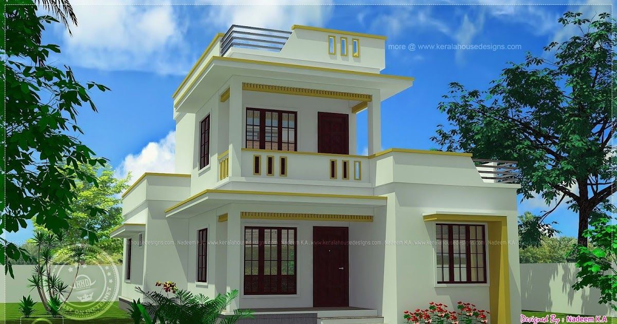 Flat Roof Home Design Plans In 2020 House With Balcony Flat