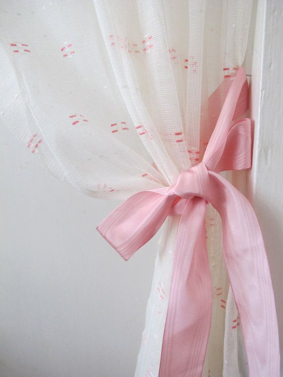 Pink White Vintage Sheers Dotted Swiss Sheer by BettyandBabs, $36.00