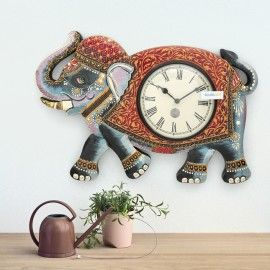 wooden hand carved lucky elephant design decorative wall clock