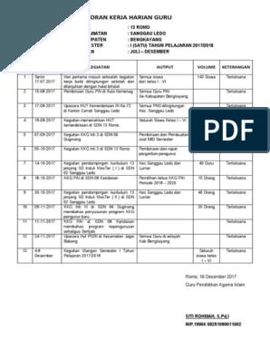 Contoh Laporan Kerja Harian Guru Microsoft Office Word Office Word Microsoft Excel