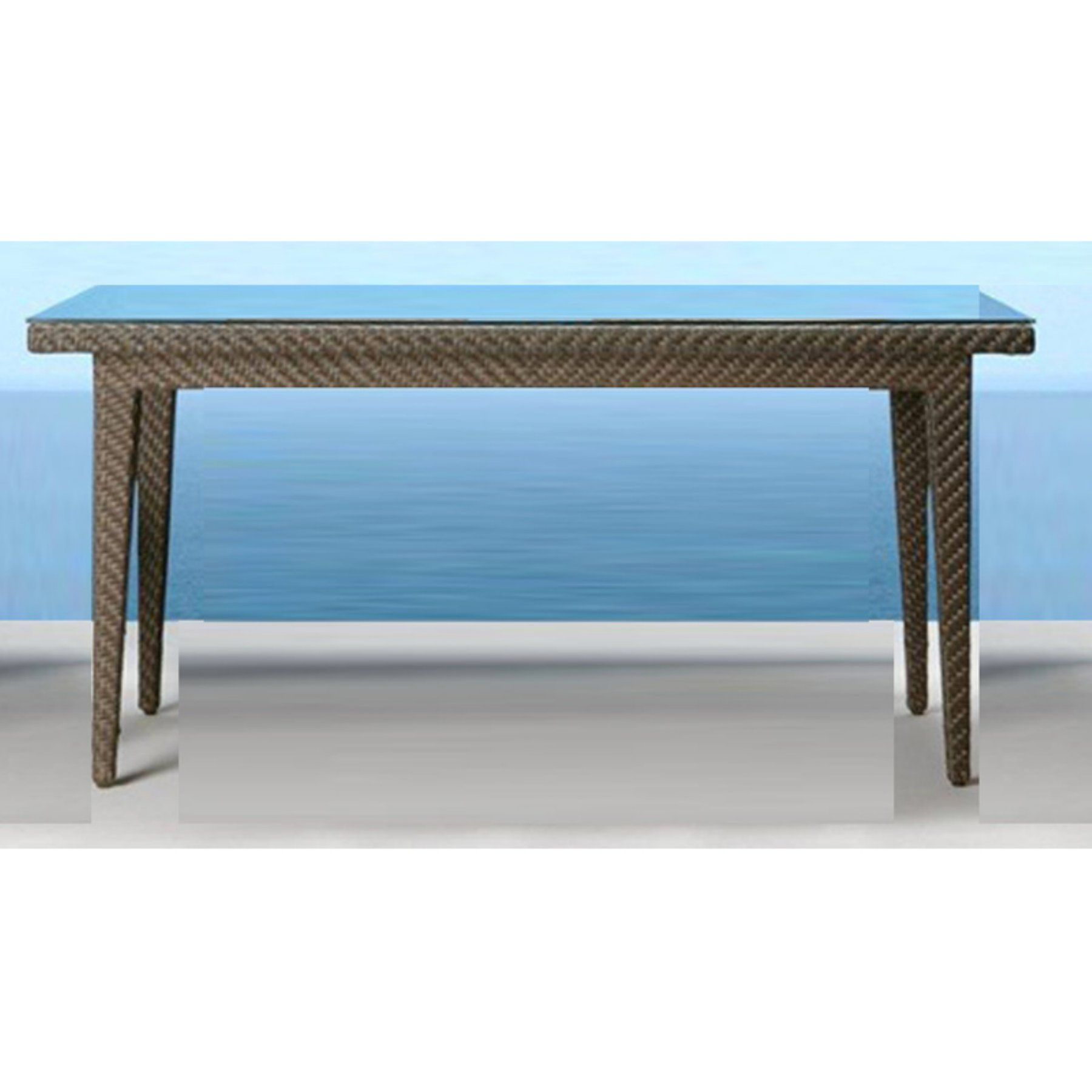 Outdoor Hospitality Rattan Soho Small Rectangular Woven Patio Dining - Small rectangular patio dining table