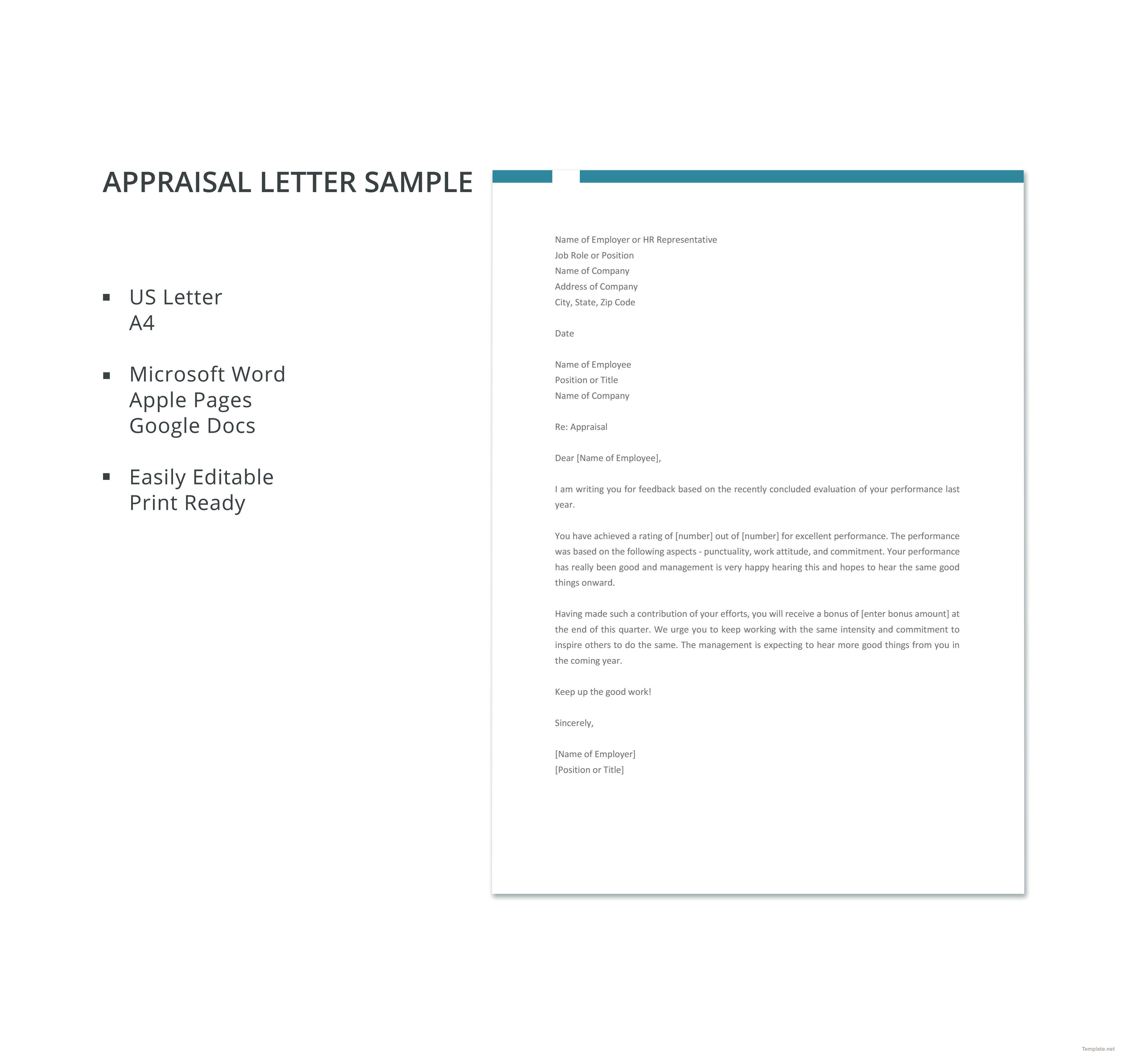 Free Appraisal Letter Sample Invoice Format Templates Business