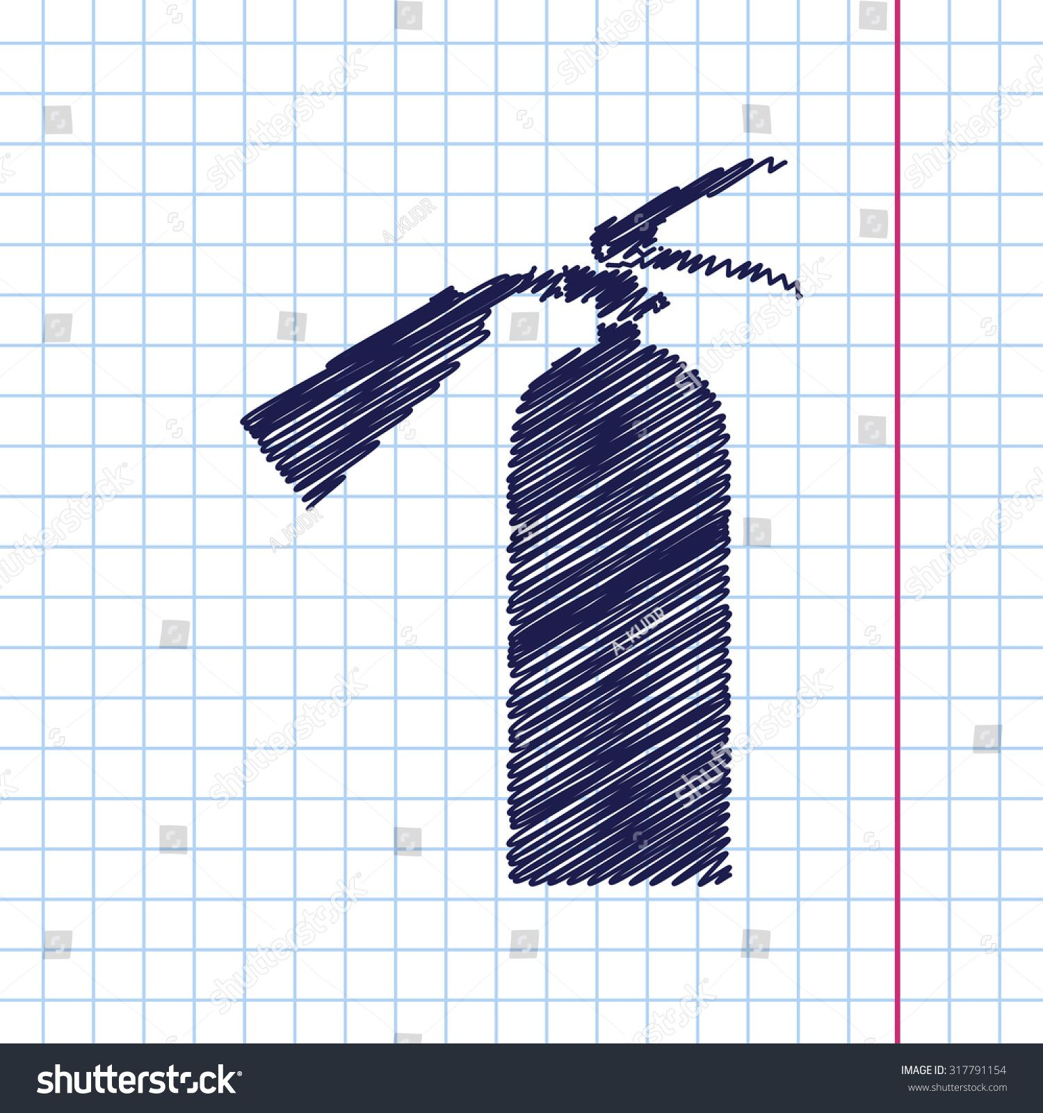 Vector hand drawn fire extinguisher icon on copybook Ad
