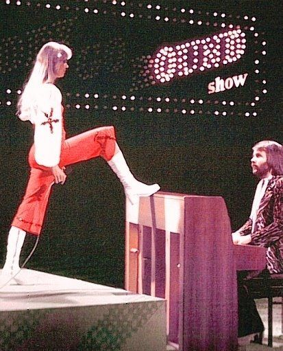 """ABBA at the """"Eddy Go Round Show"""" in Holland in early 1975."""