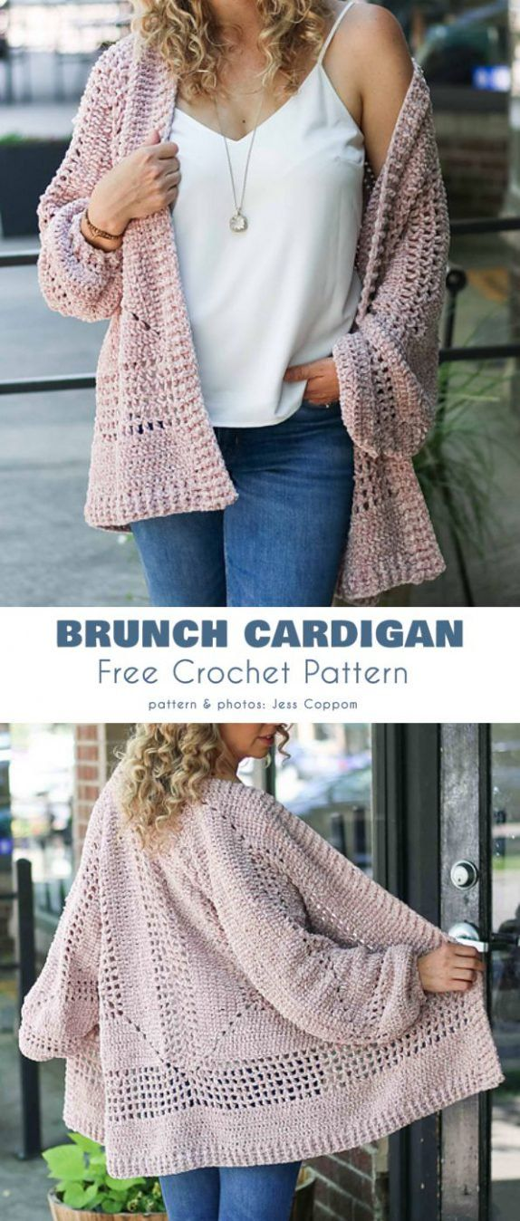 Brunch Cardigan Free Crochet Pattern #sweatercrochetpattern
