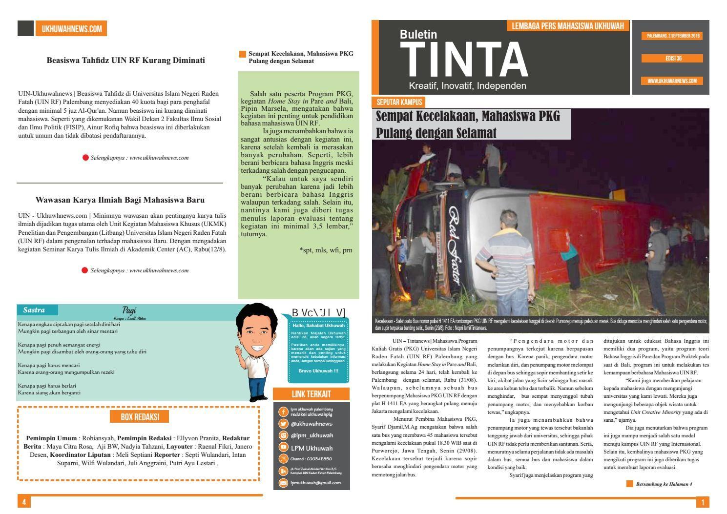 Buletin Tinta Edisi 36, 2 September 2016