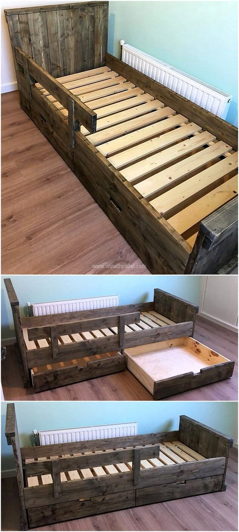 Utilize The Great Wood Pallets To Make A Sensitive Bed Outline Let The Splits And Surface Justify Itself With A C Pallet Diy Recycled Pallets Pallet Furniture