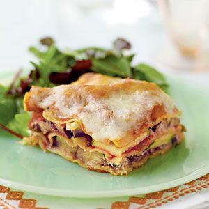 Zucchini Eggplant Lasagna by cookinglight: 216 calories per serving. #Lasagna #Eggplant #Zucchini #cookinglight