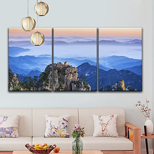 3 Panel Monkey Like Giant Boulder Overlooking The Mountains In Yellow Mountain China X 3 Panels Canvas A Canvas Wall Art Canvas Art Wall Decor Ocean Wall Art