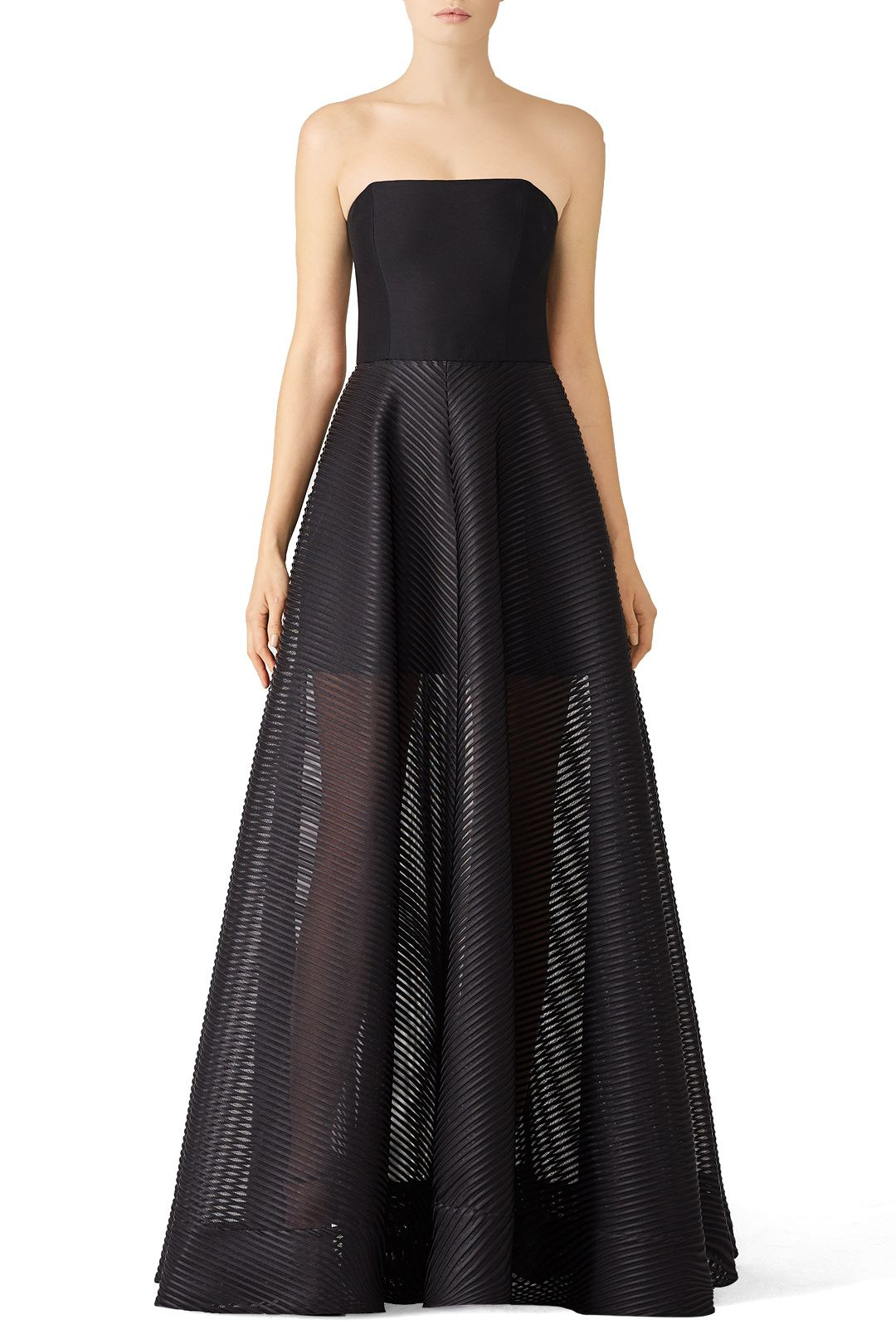 e3c84b39a340 Rent Stripe Mesh Gown by Halston Heritage for $90 - $125 only at Rent the  Runway.