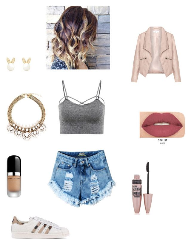 """""""Untitled #69"""" by mrgrdsantos ❤ liked on Polyvore featuring Zizzi, Lipsy, Maybelline, Smashbox, Marc Jacobs and adidas Originals"""