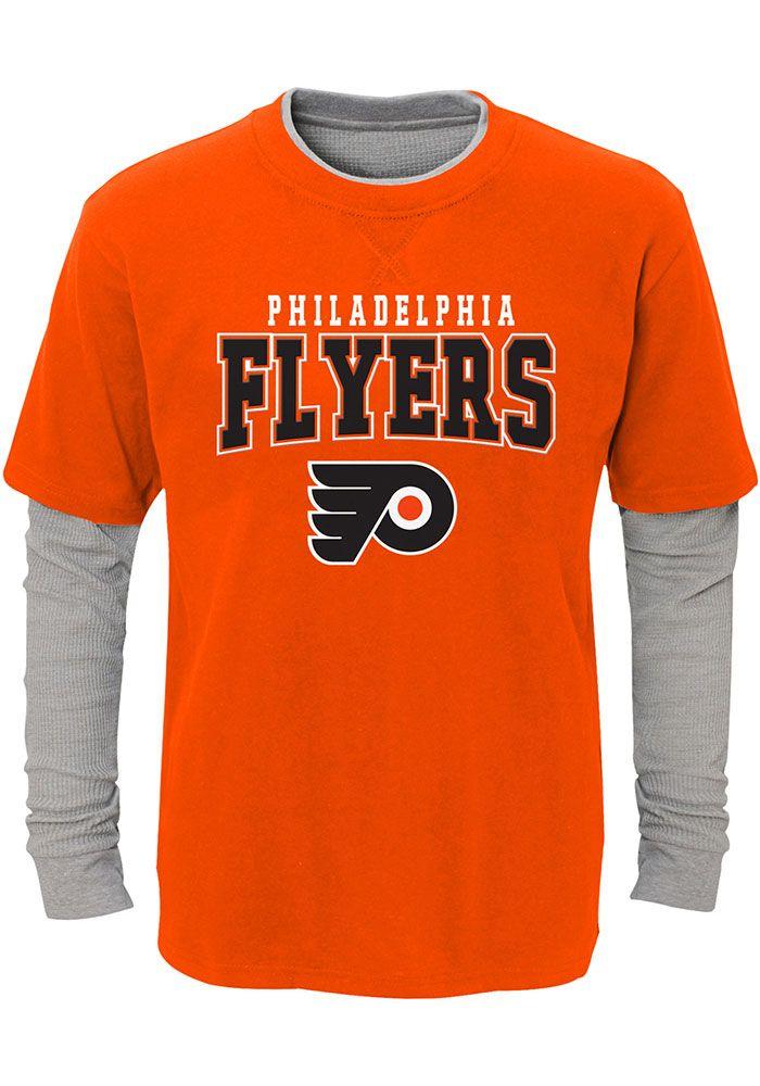 4cba04e34b2 Philadelphia Flyers Youth Orange Playmaker Long Sleeve Fashion T-Shirt,  Orange, 50% Cotton / 50% Polyester, Size XL
