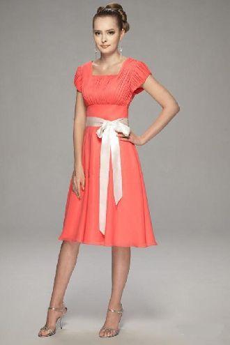 1d2f79bec9437 Salmon square A-line short sleeves sash bowknot pleated tea-length  Bridesmaid Dress BD251045