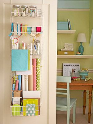 Gift wrap station on closet door