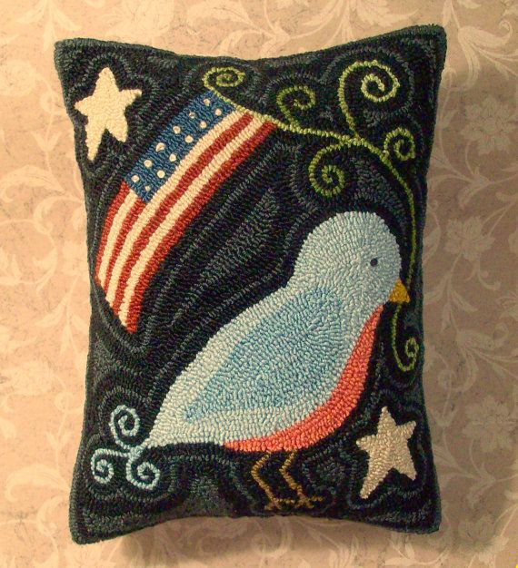 Needle Punch PATTERN Americana Blue Bird Stars by thetalkingcrow, $8.00