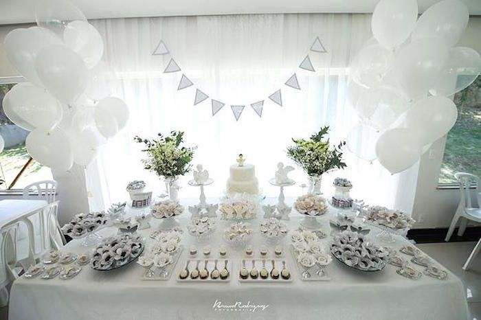 Elegant White Baptism Dessert Table Party Baptism Desserts