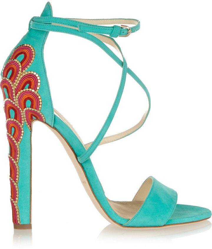 c914dbc4a4b Brian Atwood Sonya embellished suede sandals | Shoes | Brian atwood ...
