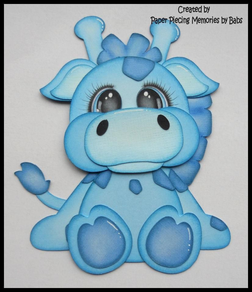Zoo animal scrapbook ideas - Premade Paper Pieced Blue Giraffe For Scrapbook Pages By Babs