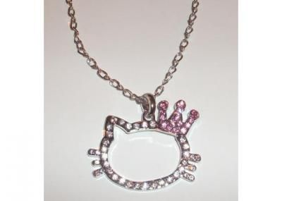 Hello Kitty rhinestone necklace with pink crown