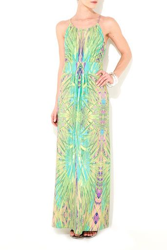 ba1dd2e9b0 Green Leaf Print Maxi Dress