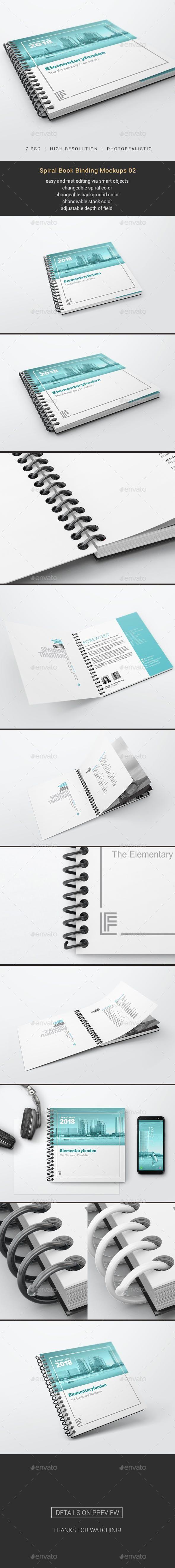 Spiral Book Binding Mockups 02 Spiral Book Binding Book Binding Brochure Design