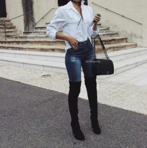 outfit con botas largas negras