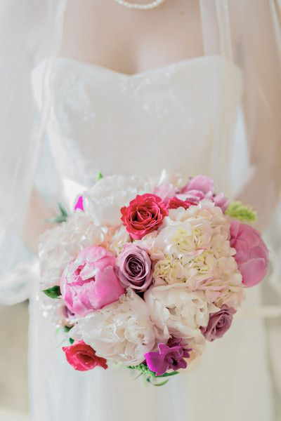 fc153d35db64 White + pink bridal bouquet - peonies