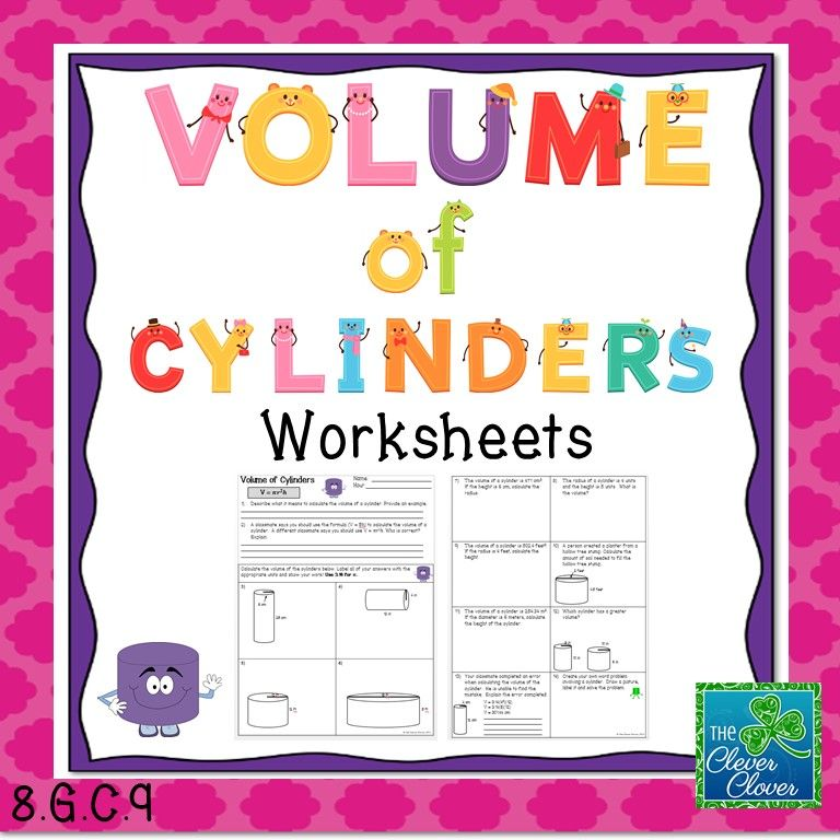 Printable Worksheets volume practice worksheets : Volume of Cylinders Worksheets | Worksheets, Math and Teacher