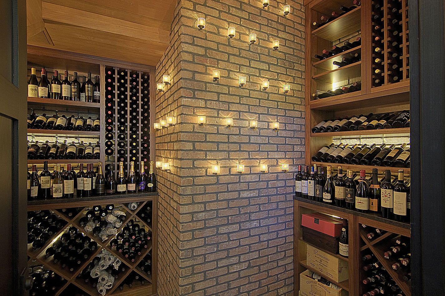 Wine Room Design Ideas Part - 20: Simple Interior Home Wine Room Design Ideas With Large Wood Brown Wine  Cabinet Furniture Complete With The Wine Shelving And Neutral Brick Wall  Style ...