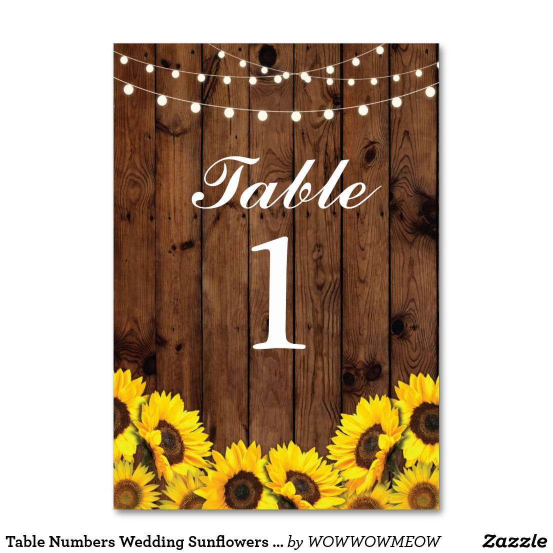 Table Numbers Wedding Sunflowers Wood Floral Cards ...