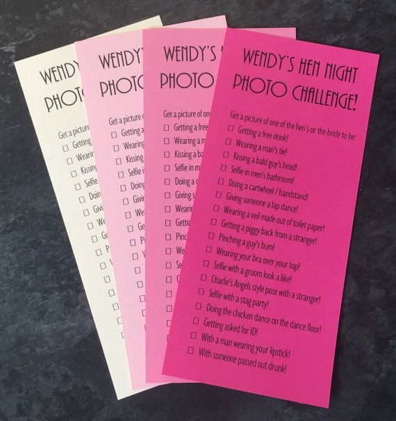 Hen Night Party Photo Challenge Game Cards Girls Night Out